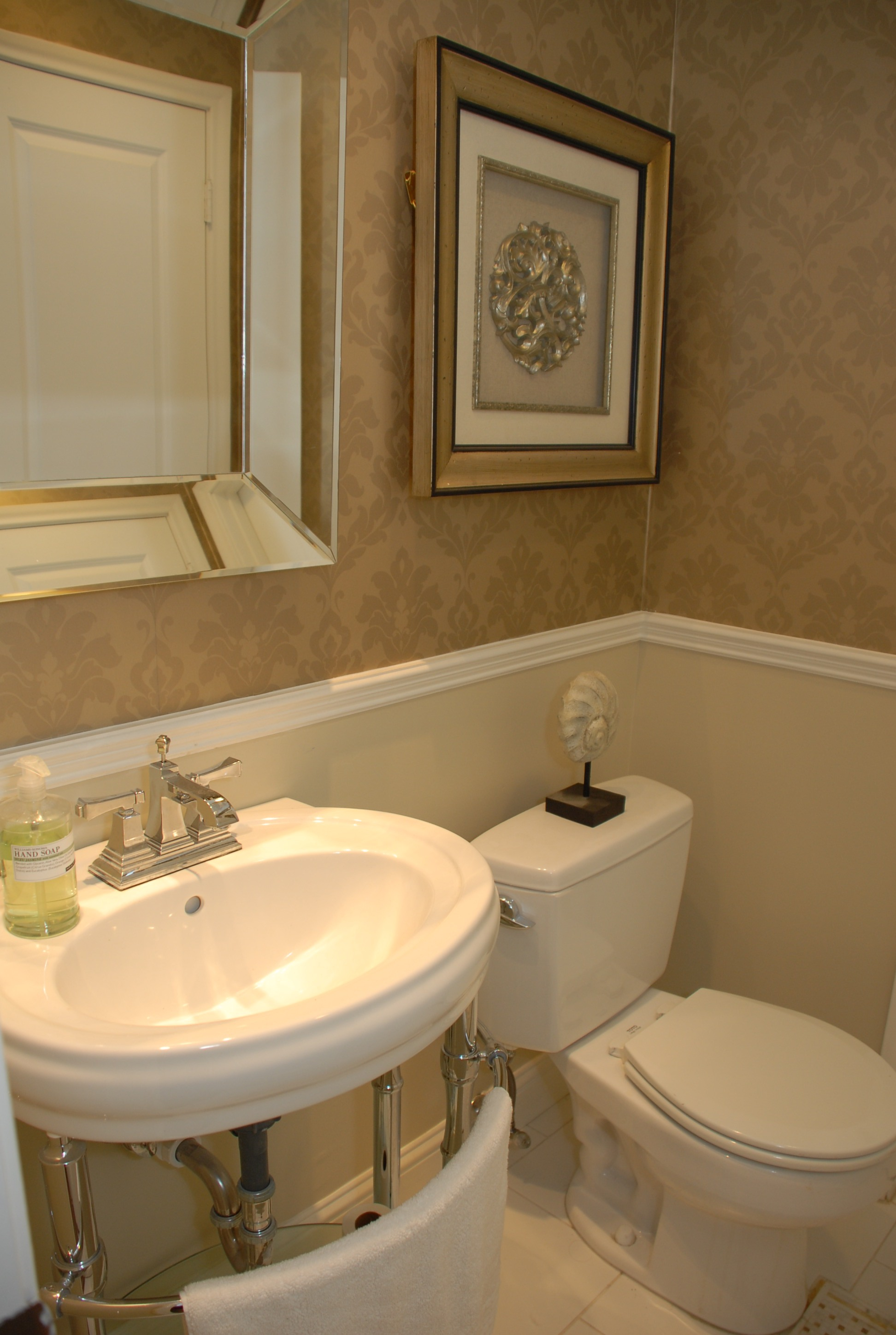 Powder room after classic wallpaper above the chair for Small bedroom with attached bathroom designs